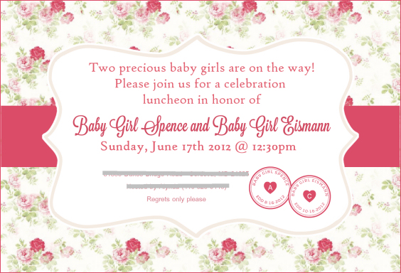 my vintage pink shabby-chic baby shower! | staying on the sunnyside, Baby shower invitations