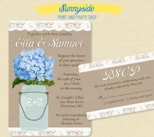 blue hydrangea mason jar wedding