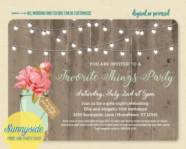 favorite things party invite