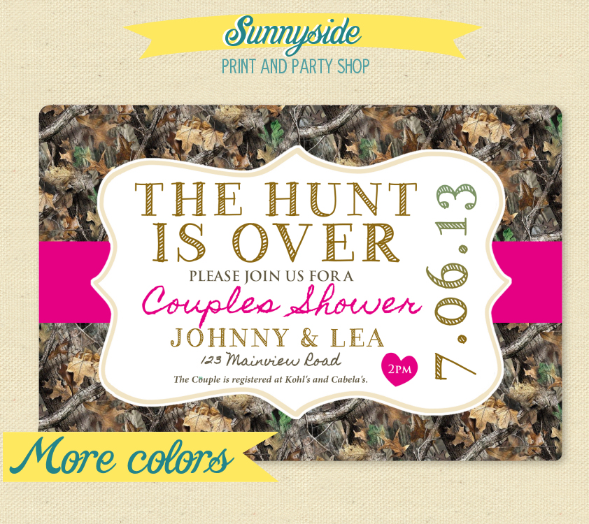 The Hunt Is Over Couple's Wedding Shower Invite