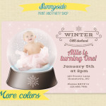 Winter ONEderland Snowglobe Birthday / Shower Invitations